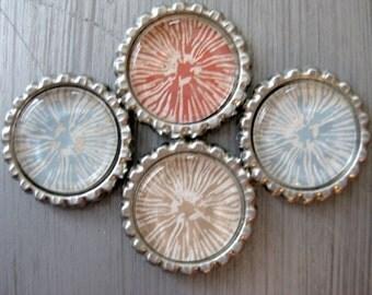 Earthtone Sketched Flower Flattened Bottlecap Magnets - Set of 4