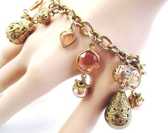 Vintage  Copper Metallic Pearls Crystal Glass Bezel Charms Art Nouveau Brass Filigrees An Linked Chain Bracelet Bangles Retro 70's