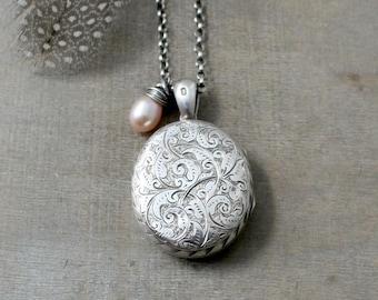 1880 Antique Locket, Large Silver Locket, June Birthstone Locket Sterling Silver Locket Necklace, Victorian Locket, Long Locket Oval Locket