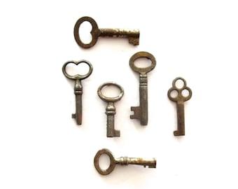 6 skeleton keys antique skeleton keys old skeleton keys, old rustic keys primitive keys jewelry keys skelton itty bitty skeleton keys bit 4