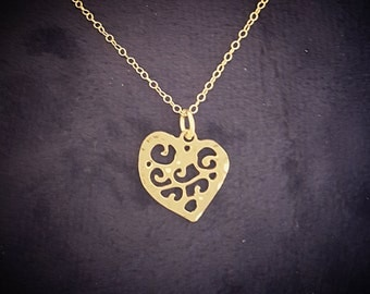 Gold necklace, heart necklace, heart gold necklace, gold chain, gold jewelry, gold asymmetrical heart necklace