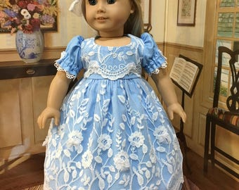 "AG ""Laces and Bows"" baby blue 4 piece ensemble fits American girl 18 inch doll and similiar 18 inch dolls"