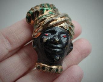 Exotic Art Deco Blackamoor Figural Brooch