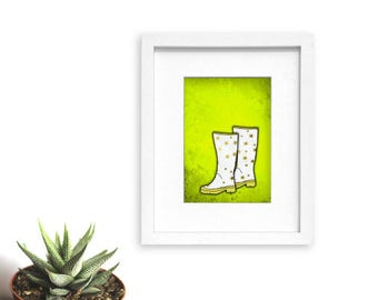 Welly Boots, set of 3 art prints, yellow green blue, mudroom decor, entryway wall art, illustration,rain boots,wellie boots,wellington boots