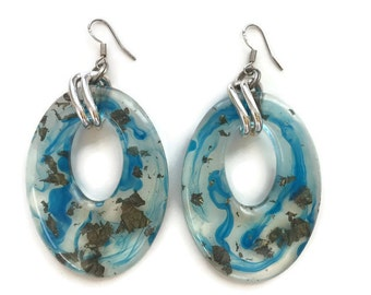 ON SALE Trendy Resin Dangle Oval Hoop Earrings with Gold Flakes and Sterling Silver Hooks in Blue Gold Silver