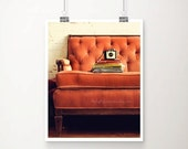 ON SALE Reading Nook Fine Art Print--Vintage Books Camera Couch Sofa Tufted Antique Peach Pink Brown Velvet Room Home Decor Wholesale