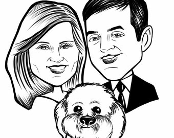 Custom Digital Couple Caricature with Puppy - Wedding Caricature - Bride and Groom - Wedding Ideas - Wedding Favors - Engaged - Engagement
