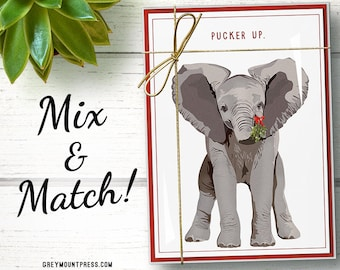 Funny elephant Christmas cards boxed set of 15. Funny elephant holiday card set. Funny holiday cards. Funny Christmas cards set.