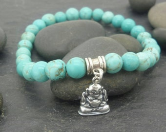 Turquoise Howlite bead sterling silver buddha Bracelet . Gemstone sterling silver Buddhist Bracelet .