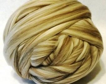 Wool Roving - Taupe Merino Wool Roving - 8 oz - Light Brown Roving, Light Brown Wool - New Dye Lot