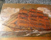 Vintage Wood Burned Tall Ship Picture
