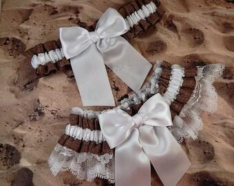 Burlap Look Linen Brown White Satin White Lace Wedding Bridal Garter Toss Set