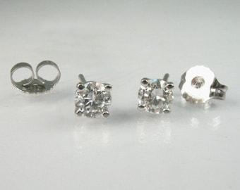 Old European Cut Diamond Ear Studs - 0.51 Carats Diamond Total Weight - New 14K White Gold Basket Mountings