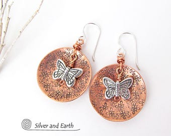 Butterfly Earrings, Copper Earrings, Sterling Silver, Nature Jewelry, Copper & Silver Earrings, Mixed Metal Jewelry, Nature Gift for Her