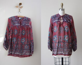 Vintage 70s Indian Cotton Top - 1970s India Festival Tunic Gauze Cotton Blouse - Deadstock - Mulberry Blue Mandalas Top