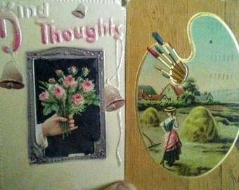 2 Vintage Postcards- Kind Thoughts & Art Pallet