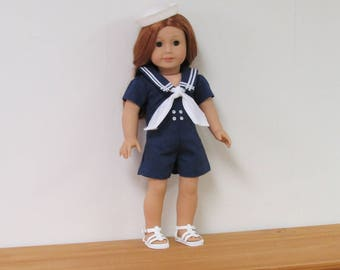 """Navy Blue and White  One Piece Nautical Romper  & Sandals for American Girl dolls or Similar 18"""" dolls"""