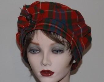 Ladies Orange Tartan Hat, Scottish Tartan Tam