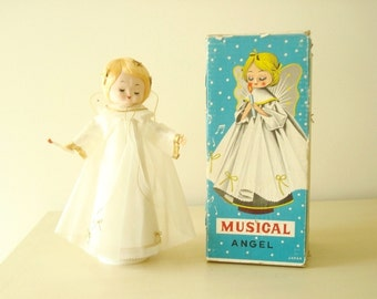 """Musical Angel, 1950s Christmas doll, plays """"Silent Night"""" and rotates, novelty holiday doll in original box, made in Japan, Christmas angel"""