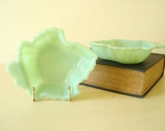 Fire King Jadite Maple Leaf dishes, set of 2 trinket, candy or nut dishes, serving bowls, spoon rests, soap dishes, minty green jadeite