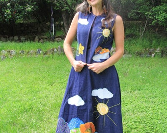 POPPY HAZE - 1960s Hippie Outfit Maxi Skirt Vest Floral Applique Denim California Sunshine Calico Poppies Clouds Relic Authentic Peace Small