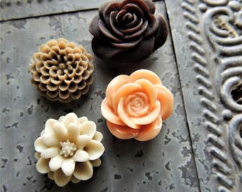 MAGNETS Fridge Magnet Refrigerator Decorative Cubicle Decor Cute Flower Office Supplies Magnetic Board Pretty Push Pins Paper Clips Set of 4