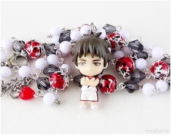 Kuroko no Basuke Teppei Kiyoshi Rosary Necklace, White, Red, Gray, Anime Figure, Anime Jewelry