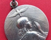 Antique Silver  French Jesus Saint John Holy Spirit Descending On The Lamb Of God Religious Medal By Vernon SS185