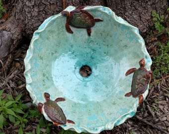"READY TO SHIP Sculptural Sea Turtles and Waves Turquoise Brown Green Crystalline Glazed Handmade Vessel Sink 15"" in Diameter"