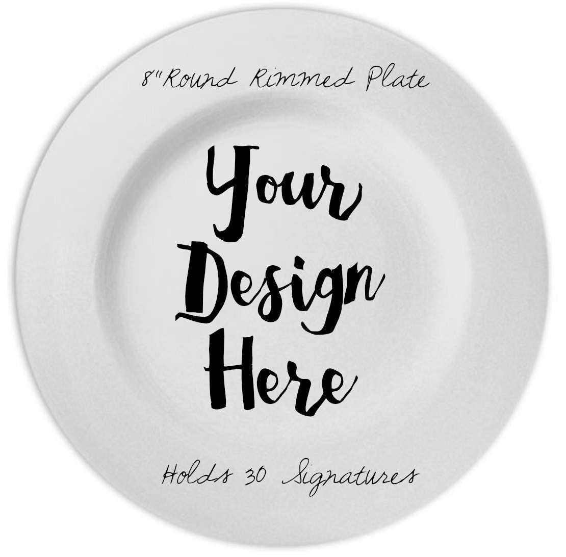 Small Round Rimmed Momento Plate 8 Plate Customized