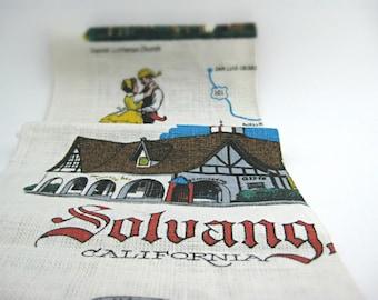 "Vintage Solvang California Decorative Linen Kitchen Towel - Danish Village Souvenir Tea Towel - 60s, 70s Kitschy Kitchen Decor - 27"" x 16"""