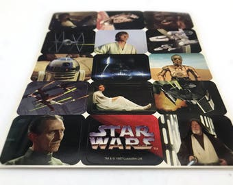 Vintage Star Wars Stickers, Star Wars Gift for Her, Stocking Stuffer, Kids Stickers, Millennium Falcon, X-Wing, Princess Leia, Darth Vader