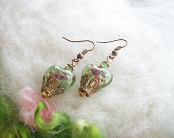 Heart Earrings Green Lamp Work Heart Beads Victorian Style Copper Filigree Austrian Crystal Beads Romantic Valentine Sweetheart Jewelry