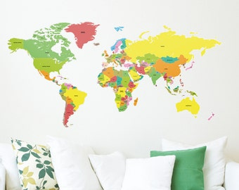 Educational Labelled Countries of the World Map Wall Stickers