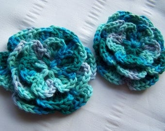 Crocheted flowers set of 2 appliques 3 inch embellishment sew on in aqua ombre multi