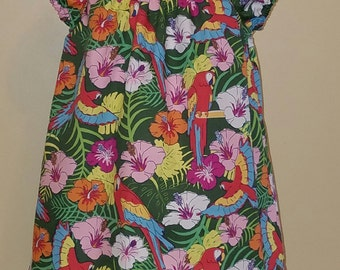 STORE CLOSING, Parrot & Floral, Peasant Dress, Summer, 3-6 mo, 6-9 mo, 12 mo, 18 mo, 2 3 4 5