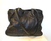 80s Leather Tote, Black Leather Bag, Black Leather Purse, Shoulder Bag, Huge Bag, Patchwork Distressed Leather Handbag, Oversized, Tote BOHO
