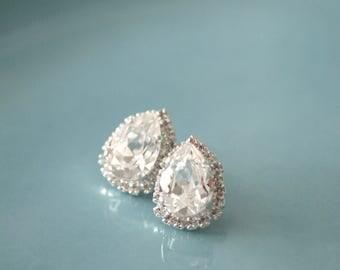 Bridal Earrings - Rhinestone Teardrop Stud