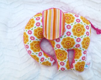 Stuffed Elephant Plush Pink Orange Ready to Ship