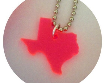 Texas Necklace in Neon Pink Lasercut Acrylic - State Jewelry - Small Size