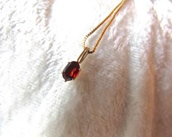 Vintage 14kt Garnet Pendant Great Anniversary,Birthday- Lovely Garnet Gold Pendant