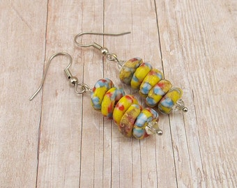 Earrings - African Powder Glass Beads - Blue, Yellow, Red, White - Tribal - Trade - Krobo - Ethnic - Discs
