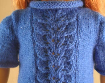 """Girl 18"""" Doll Clothes Blue Sweater Design Front Hand Knit fits 18"""" doll such as American"""