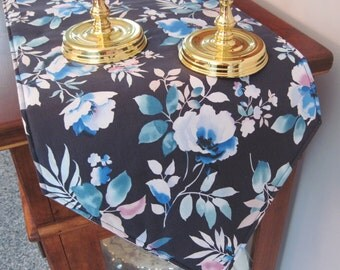 Blue Floral Table Runner 72 Inch Reversible Blue and Lavender Table Runner Navy Blue Floral Table Runner Light Blue Table Runner