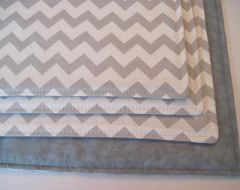 Gray and White Chevron Placemats Set of 4 or 6 Reversible Zig Zag Gray Chevron Placemats Gray Placemats Grey Kitchen Decor Gray table decor