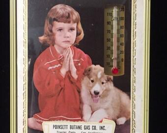 Vintage Mid Century Advertising Thermometer - Pounsett Butane Gas Harrisburg, Cherry Valley AK