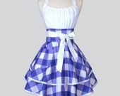 Flirty Chic Woman Apron - Retro Purple and White Gingham Cute Pin Up Vintage Style Kitchen Hostess Aprons