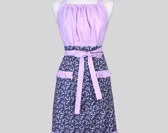 Cute Kitsch / Womens Retro Apron in Dreamscape Navy and Amethyst from Rae Ritchie Dear Stella with Feminine Ruffled Trim