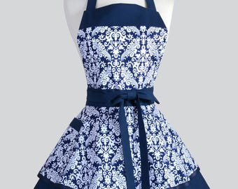AVA Ruffled Retro Pinup Apron - Navy Blue White Damask Womans Vintage Style Pin Up Kitchen or Wedding Apron Ideal to Personalize or Monogram
