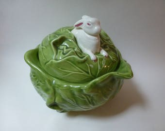 Ceramic Cabbage and Rabbit Dish